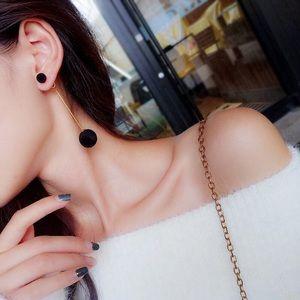 🆕 Black Plush Ball Drop Earrings
